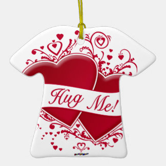 Hug Me! Red Hearts Double-Sided T-Shirt Ceramic Christmas Ornament