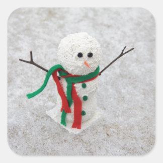 Hug Me Snowman Square Sticker