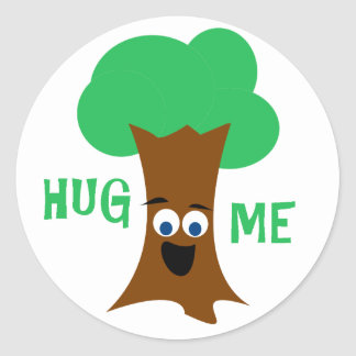 Hug Me (Treehugger) Round Stickers