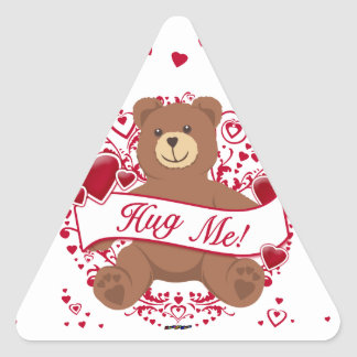 Hug Me! Valentine's Day Teddy Bear Triangle Sticker