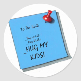 HUG MY KIDS MEMO CLASSIC ROUND STICKER