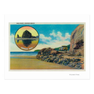 Hug Point at Cannon Beach and Haystack Rock Postcard
