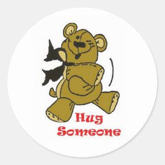 Hug Someone Classic Round Sticker