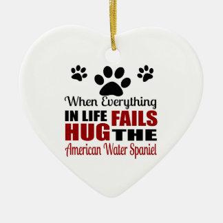 Hug The American Water Spaniel Dog Ceramic Ornament