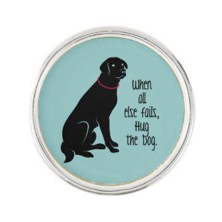 """Hug the Dog"" Silverplated Lapel Pin"