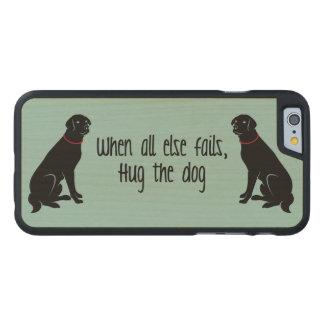 """Hug the Dog"" Wood Phone Case"