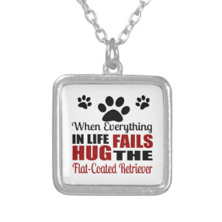 Hug The Flat-Coated Retriever Dog Silver Plated Necklace