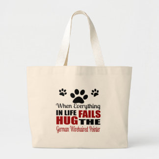 Hug The German Wirehaired Pointer Dog Large Tote Bag