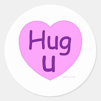 Hug U Pink Heart Classic Round Sticker