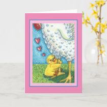 HUG YOUR MOMMA, BABY CHICK LOVES MOTHER HEN Blank Card