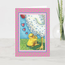 HUG YOUR MOMMA, CUTE BABY CHICK LOVES MOTHER HEN HOLIDAY CARD