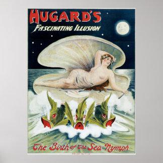 Hugard's ~ Fascinating Illusion Vintage Magic Act Poster