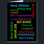 """HUGE BIG Retirement Congratulations from All of Us Card<br><div class=""""desc"""">HUGE! What a wonderful, fun PERSONALIZED happy retirement greeting card from a group. On the cover, your text repeats in different fonts and colors on a black background. Also easy to modify inside text, if desired. Default size is HUGE (18&quot; x 24&quot;) to leave room for lots of co-workers to...</div>"""