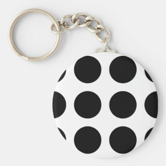 Huge Black Dots Basic Round Button Keychain