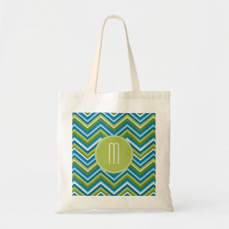 Huge Bright Chevron Pattern with Custom Monogram Budget Tote Bag