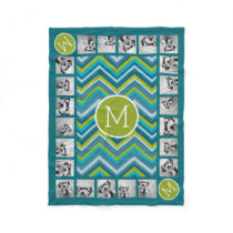 Huge Bright Chevron Pattern with Custom Monogram Fleece Blanket