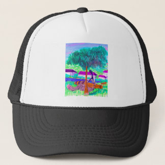Huge Chain and Anchor on a Tropical Waterfront Trucker Hat