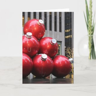Huge Christmas Ball Ornaments in NYC Holiday Card