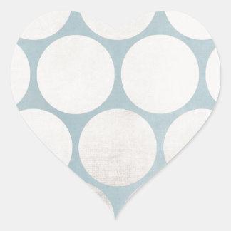 Huge Circles Blue White Grungy Heart Sticker