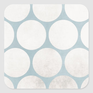 Huge Circles Blue White Grungy Square Sticker