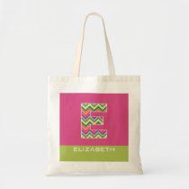 Huge Colorful Chevron Pattern Custom Monogram E Tote Bag
