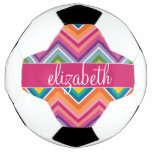 Huge Colorful Chevron Pattern Custom Name Soccer Ball
