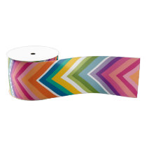 Huge Colorful Chevron Pattern Grosgrain Ribbon