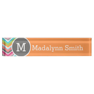 Huge Colorful Chevron Pattern with Monogram Desk Name Plate