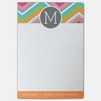 Huge Colorful Chevron Pattern with Monogram Post-it® Notes