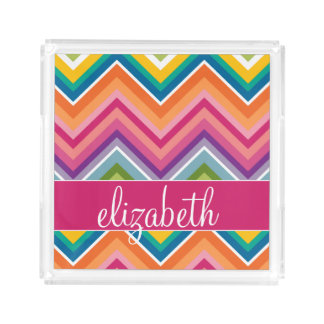 Huge Colorful Chevron Pattern with Name Square Serving Trays