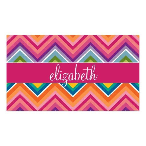 Huge Colorful Chevron Pattern with Name Business Card Templates