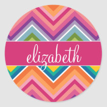 Huge Colorful Chevron Pattern with Name Classic Round Sticker
