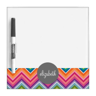 Huge Colorful Chevron Pattern with Name Dry-Erase Whiteboard