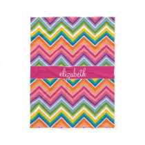 Huge Colorful Chevron Pattern with Name Fleece Blanket