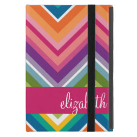 Huge Colorful Chevron Pattern with Name iPad Mini Covers