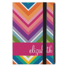 Huge Colorful Chevron Pattern With Name Ipad Mini Covers at Zazzle