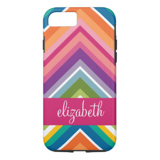 Huge Colorful Chevron Pattern with Name iPhone 7 Case