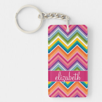 Huge Colorful Chevron Pattern with Name Rectangular Acrylic Keychain