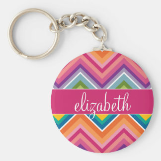 Huge Colorful Chevron Pattern with Name Basic Round Button Keychain