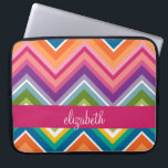 "Huge Colorful Chevron Pattern with Name Laptop Sleeve<br><div class=""desc"">A bold,  graphic zig zag design in sweet,  cheerful colors. This colorful design can be found on many popular case styles. If you need to make adjustments to the art,  click on the customize it button and make changes.</div>"