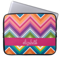 Huge Colorful Chevron Pattern with Name Laptop Sleeve