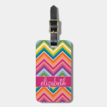 Huge Colorful Chevron Pattern with Name Luggage Tag