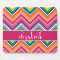 Huge Colorful Chevron Pattern with Name Mouse Pad
