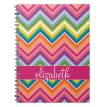 Huge Colorful Chevron Pattern with Name Notebook