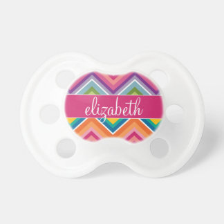 Huge Colorful Chevron Pattern with Name Baby Pacifiers