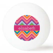 Huge Colorful Chevron Pattern with Name Ping-Pong Ball