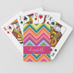 "Huge Colorful Chevron Pattern with Name Playing Cards<br><div class=""desc"">A bold,  graphic zig zag design in sweet,  cheerful colors. This colorful design can be found on many popular case styles. If you need to make adjustments to the art,  click on the customize it button and make changes.</div>"