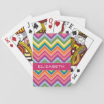 """Huge Colorful Chevron Pattern with Name Playing Cards<br><div class=""""desc"""">A bold,  graphic zig zag design in sweet,  cheerful colors. This colorful design can be found on many popular case styles. If you need to make adjustments to the art,  click on the customize it button and make changes.</div>"""