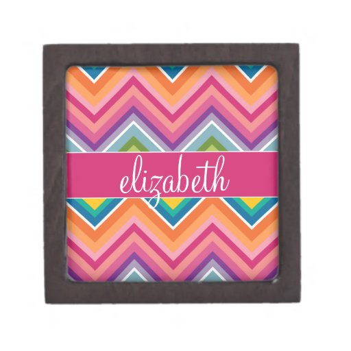 Huge Colorful Chevron Pattern with Name Premium Gift Boxes