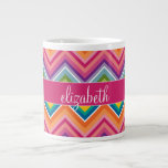 Huge Colorful Chevron Pattern with Name 20 Oz Large Ceramic Coffee Mug